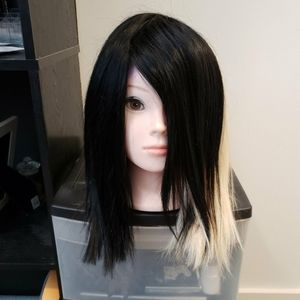 Half black half blonde human hair wig